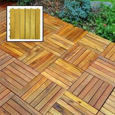 Create an outdoor patio in your backyard with these Acacia deck tiles. These hardwood deck tiles feature an intricate design that creates a stunning look that is eye-catching and unique. The tiles sim Wood Deck Tiles, Hardwood Decking, Hardwood Floor, Timber Tiles, Porches, Decks, Interlocking Deck Tiles, Laying Decking, Diy Deck