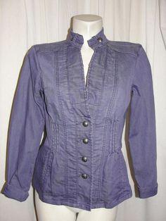 Chico's Platinum ROXANNE Purple Ruffle Trim Denim Jean Jacket Stitch Trim Sz 0 S #Chicos #JeanJacket #CasualCareer