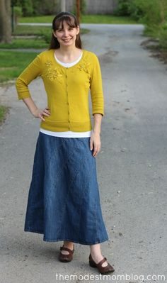 Modest Monday and a Link Up! Mustard sweater with rainbow denim skirt (coming soon to Deborah & Co!)