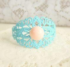 Blue Peach Pink Bracelet Tiffany Turquoise Wedding Bracelet Baby Blue Coral Light Pale Romantic Dreamy Spring Jewelry by Jewelsalem, $16.00