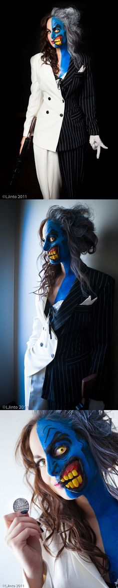 Two Face - One of my favourite costumes of all time. Buy two cheap suits from thrift store, cut in half, sew together or use seam glue. Paint half of face with makeup, backcomb half of air.