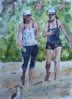 Beach Walking, Miniature collectible Original Watercolor Painting Art,ACEO  #Realism