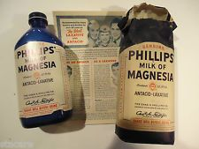 Vintage 12oz Blue Bottle PHILLIPS MILK OF MAGNESIA Pharmacy Collectibles