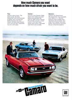 """1967 Camaro, note the sexism at the end of the description for the """"Top Car"""".  An, the 1960s."""