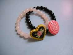 Vintage Style Black Jasper and Rose Quartz Beaded by Beads4You2008,