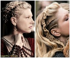 """It's baaack! Season 3 of """"Vikings"""" starts tonight on the History channel! Shown: Katheryn Winnick as """"Lagertha."""" All of her hair designs are created by lead hairstylist, Dee Corcoran. Viking updo? Sign us up! #addictedtovikings #vikingbraids #vikingupdo #hotonbeauty"""