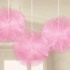 Poze 3 Decoratiuni Tule Fluffy 30.4cm Roz Pink