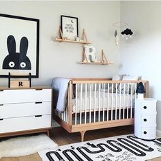 Baby boy nursery - ideas and inspiration. Cot, decor, fantastic themes for baby boys. Black and white. Monochrome. Adventures rug.