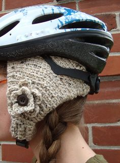 56148a39b1d Ravelry: Knit-Look Bicycle Helmet Earwarmers pattern by Jennifer Ozses Look  Bicycles, Helmet