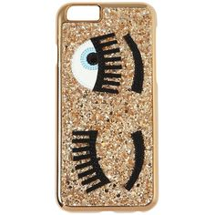 CHIARA FERRAGNI Flirting Glitter Iphone 6 Case found on Polyvore featuring accessories, tech accessories, gold and chiara ferragni