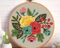 Floral Embroidery Patterns, Needlepoint Patterns, Beaded Embroidery, Cross Stitch Embroidery, Flower Patterns, Butterfly Cross Stitch, Cross Stitch Rose, Modern Cross Stitch Patterns, Etsy