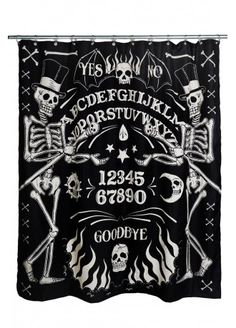 Too Fast Skeleton Ouija Shower Curtain   Attitude Clothing