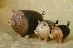 Cochons Corse en bois tourné