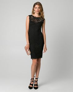 Lace Boat Neck Cocktail Dress - Corded lace with scalloped edges adds a graceful finish to a stunning cocktail dress designed with a sophisticated boat neckline and fitted silhouette. Boat Neck, Cocktail Dresses, Cap Sleeves, Designer Dresses, Cocktails, Neckline, How To Make, Clothes, Style