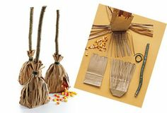 Broom Treat bags - from Martha Stewart! (for a Harry Potter themed party) we used crazy straws as the handle instead of a twig Baby Harry Potter, Harry Potter Themed Gifts, Harry Potter Motto Party, Harry Potter Fiesta, Harry Potter Baby Shower, Harry Potter Birthday, Harry Potter Halloween, Hen Party Bags, Anniversaire Harry Potter