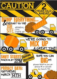 Dump Truck Birthday Invitation Construction Birthday Invitation