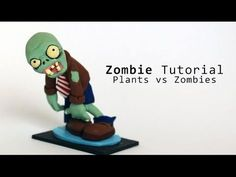 a how to video on making the zombie from plants vs zombies. This is requested by CheshireOnTheCasexD materials: - , black acrylic paint - a color palette wit. Plants Vs Zombies, Polymer Clay Miniatures, Polymer Clay Creations, Zombie Cupcakes, Disney Cupcakes, Zombie Birthday Parties, Biscuit, Plant Zombie, Walking Dead Coral