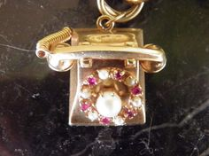 Vintage 14k gold Phone Charm, Rubies and Pearls