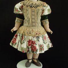 Wonderful Velvet & Cotton Couturier French Doll Dress 23-24 (60-64 cm)
