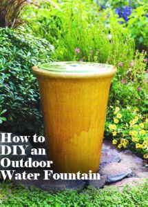 Great Garden Fountain Ideas - - Great ideas for DIY garden fountains, from simple bubbling jars to classic urns, cupids, and wall fountain water features. Backyard Projects, Outdoor Projects, Garden Projects, Backyard Ideas, Diy Projects, Diy Garden, Garden Art, Garden Pond, Garden Design