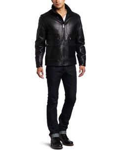 Michael Kors Men's Exeter Leather Zip Front Blouson, Black, Medium Michael Kors ++ You can get best price to buy this with big discount just for you.++