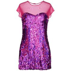 Fanfreluches Short Dress ($44) ❤ liked on Polyvore featuring dresses, mermaid, purple, short sequin dress, purple cocktail dress, short-sleeve dresses, short tulle dress and short sleeve dress
