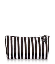 brown & white stripe medium cosmetic bag - makeup bag - designer makeup cases