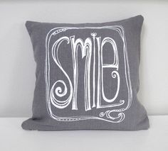 Pillow Cover  Cushion Cover  SMILE in White by SweetnatureDesigns, $22.00