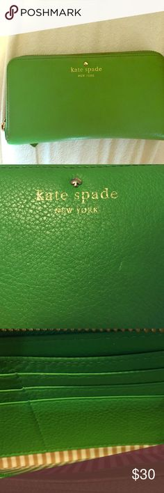 Kate Spade wallet Lime green Kate spade wallet lightly used on edges. kate spade Bags Wallets