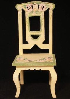 Tall Straight Back Doll Chair Wooden Toy Furniture Shabby Painted Floral Chic  http://stores.ebay.com/beachcats-bargains  beachcats bargains