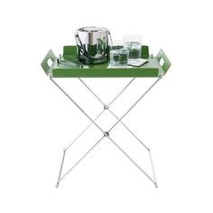 Kelly green tray table; fold the frame away most days.