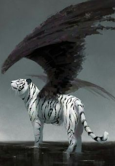 White tiger black wings strange mythical creature fantasy