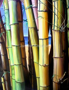 Original painting has sold / Despite living for many years just a stones throw from some of the worlds most amazing beaches, I still found myself procrastinating about heading down to the water! I see this painting as an illustration of this dilemma, the beach lies just beyond the bamboo, as is the case in some places, but it just seems impossible to get through. A metaphor for life if you like. • Buy this artwork on apparel, home decor, stationery, and more.