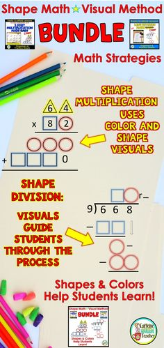 Visual multiplication and division strategy using shapes and colors. Differentiated math method!