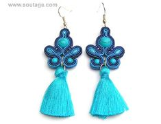 Blue Comet earrings are good jewelry for any occasion. Crystals and soutache embroidery are perfect for dressy or casual. Using materials: turquoise stones, glass beads, soutache, viscose, silky tassel Length of earring: 7 cm Width of earring: 3 cm Handmade by soutache technique. Its