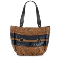 """*Miche Canada* Imagine the toasty brown sand dunes of the Sahara offset by the darkest, deepest blue of a midnight sky—that image perfectly describes the contrasting colors that make the Madison Shell for Demi Bags a real stand-out for your Miche collection. Golden tan textured faux leather with deep blue accents also features a stylish """"strap"""" detail on the front and zippered pocket storage on the back."""