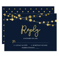 Elegant Blue Strings of Lights RSVP Reply Card - gold wedding gifts customize marriage diy unique golden Elegant Wedding Invitations, Wedding Invitation Cards, Wedding Cards, Wedding Gifts, Invitation Card Design, Custom Invitations, Strings, String Lights, Gold Wedding