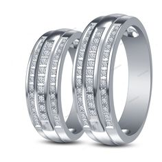 Three-Row Style Couples Band Ring IN 14K White Gold Fn Round D/VVS1 Diamond…
