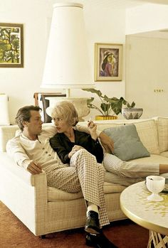 Tony Curtis and Janet Leigh at home.