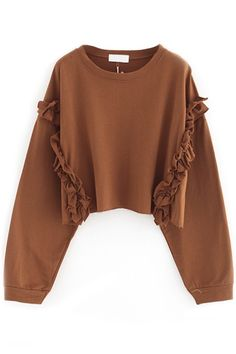 Ruffled Batwing Crop Sweatshirt