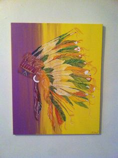 Indian Headdress. Painting on canvas.  36x24 SOLD
