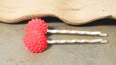 Flower Bobby Pins - Red Mum Bobby Pins - Set of Two - Red Flower Bobby Pins- Red Flower Hair Pins - Red Bobby Pins - Red Hair Pins - pinned by pin4etsy.com