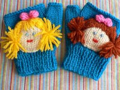 'Best of Friends' mittens by Lorna Musk Children's hand-knit fun mittens in DK with added motif