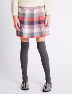 Pure Cotton Checked Skater Skirt (5-14 Years)