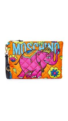 MOSCHINO Printed Clutch. #moschino #bags #shoulder bags #clutch #nylon #hand bags #