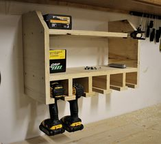 Drill organizer woodworking bench woodworking bench bench diy bench garage workbench bench plans crafts christmas crafts diy crafts hobbies crafts ideas crafts to sell crafts wooden signs Garage Workshop Organization, Diy Garage Storage, Workbench Organization, Organization Ideas, Tool Storage, Shed Storage Ideas Ikea, Lumber Storage, Kayak Storage, Garage Shelving
