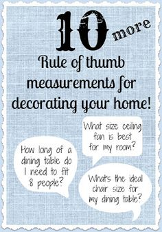 Driven By Décor: 10 More Rule of Thumb Measurements for Decorating Your Home