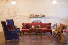 Vintage lounge furniture inspiration for weddings and events. Rentals and styling by Birch & Brass Vintage Rentals in Austin, TX. Photography by @J. Noel photography.