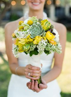 Succulents & yellow tulips wedding flower bouquet, bridal bouquet, wedding flowers, add pic source on comment and we will update it. www.myfloweraffair.com can create this beautiful wedding flower look.
