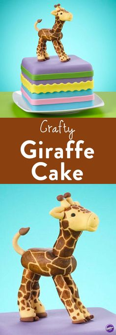How to Make a Crafty Giraffe Fondant Cake - This gentle giant gets its own sweet purple pedestal, adorned with colorfully crafted ribbons. Use the Wilton Ribbon Cutter and other fondant tools to find out how simple and fun decorating with fondant can be.
